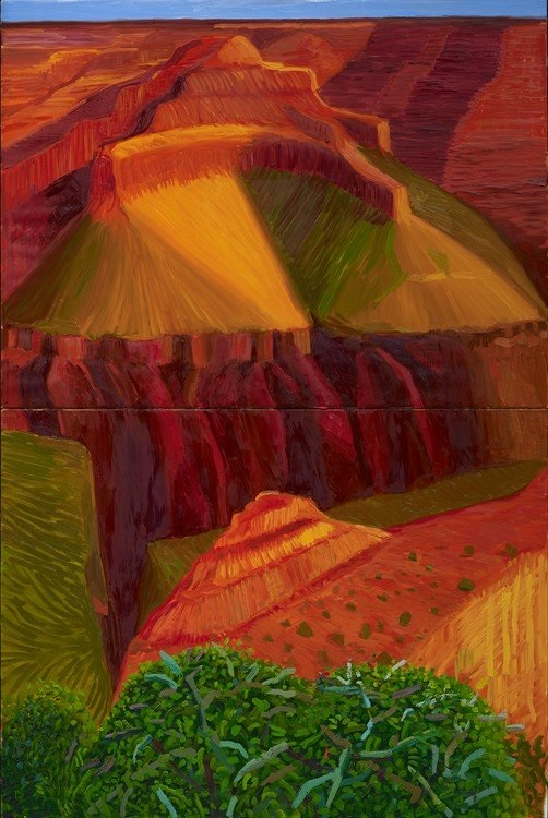 """David Hockney, """"Double Study for 'A Closer Grand Canyon'"""" 1998 (detail), Oil on 2 canvases, 71 1/2 x 47 3/4″ overall © David Hockney. Photo Credit: Prudence Cuming Associates. Collection Royal Academy of Arts, London"""