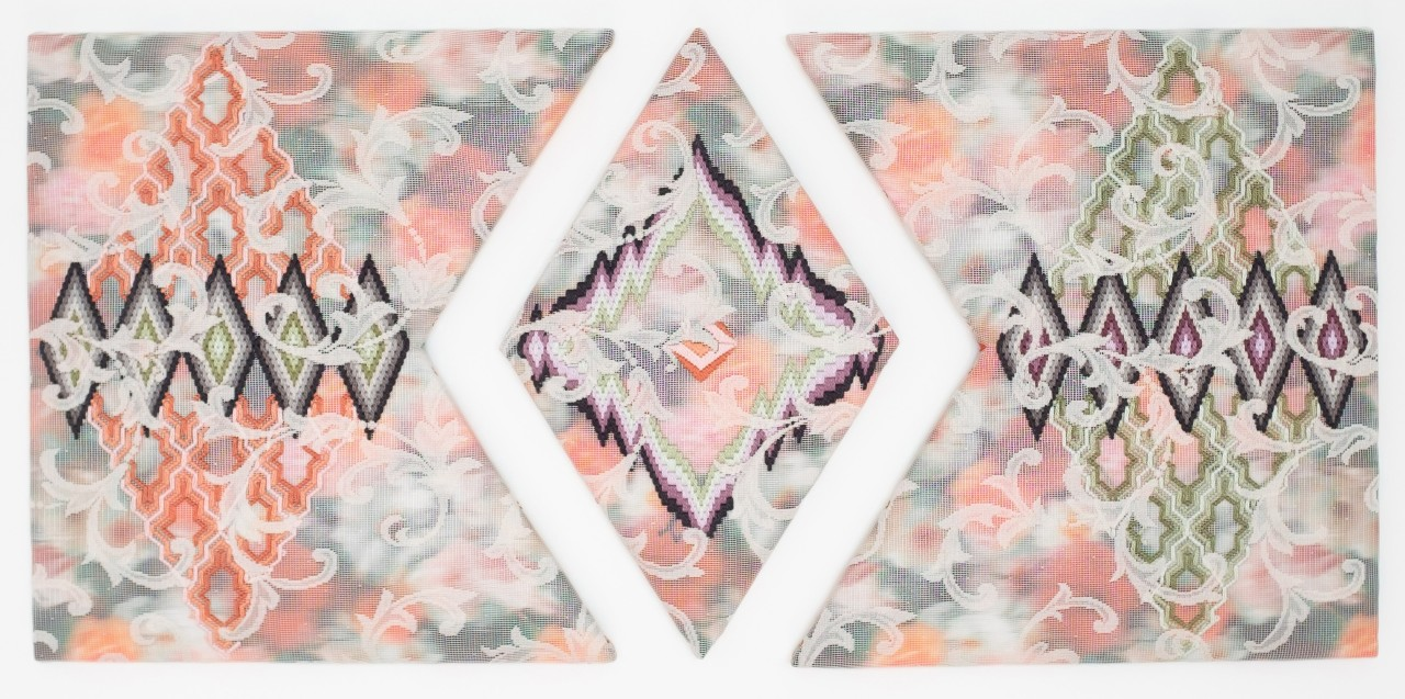 CECILIA CHARLTON. A CERTAIN SLANT OF LIGHT (LABYRINTHINE PATHWAYS OF DIAMONDS) [TRIPTYCH] 2020. COURTESY OF CANDIDA STEVENS GALLERY