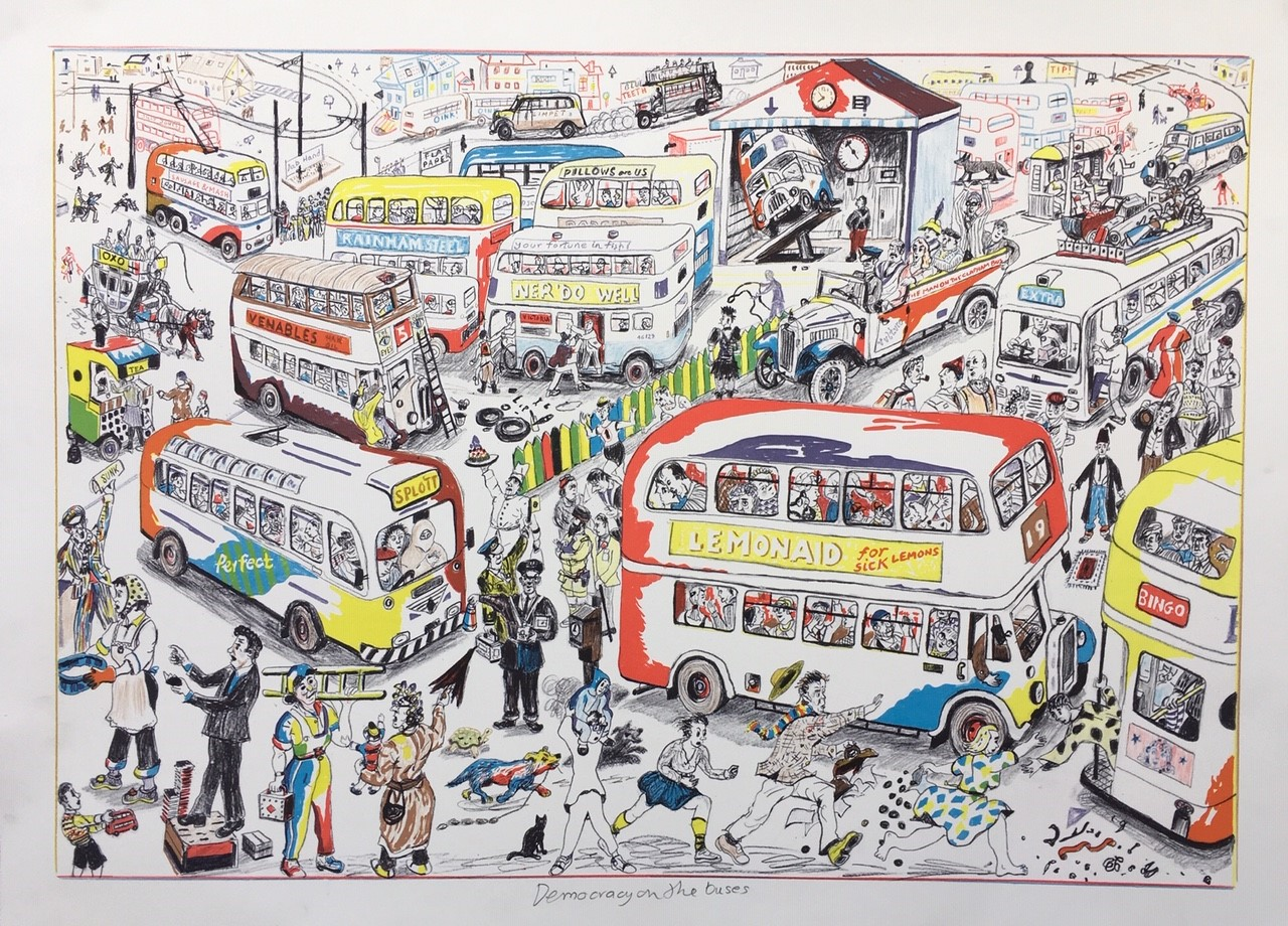 Chris Orr, Democracy on the Buses, 2020. Courtesy of Jill George Gallery