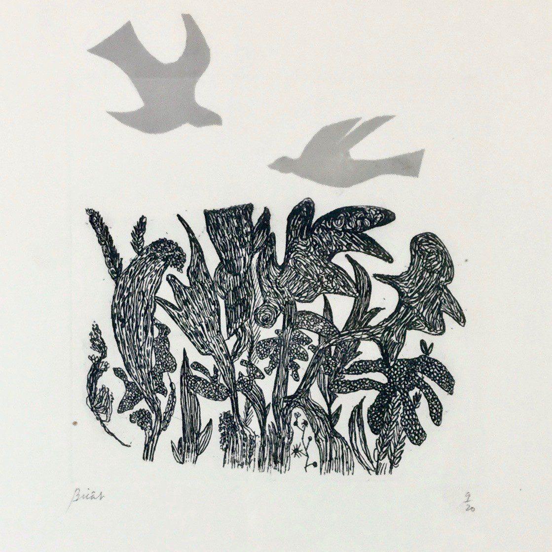 Andre Bicat, Birds Over Wood, Courtesy of Jenna Burlingham Fine Art