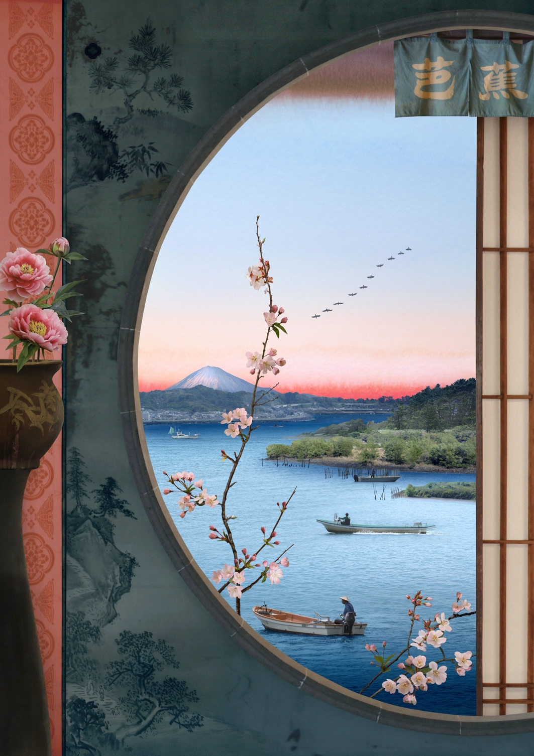 Emily Allchurch, Picture Window (after Hiroshige), 2020. Courtesy of GBS Fine Art.