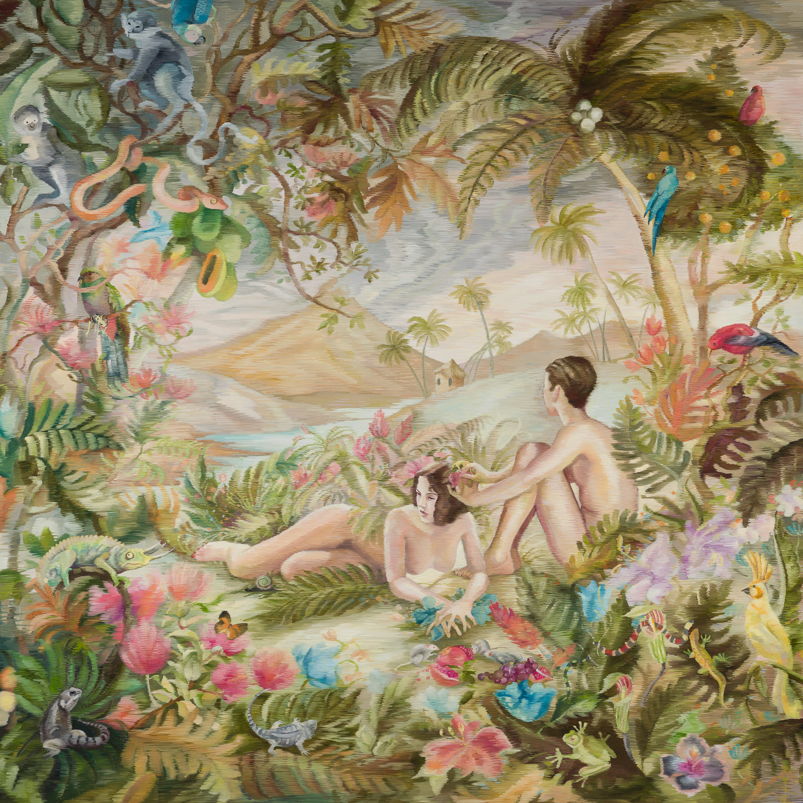 Grace OConnor, Honeymoon in Hawaii (Until we Dissolve), 2020. Oil on canvas, 122 x 122cm. Courtesy of Candida Stevens Gallery.