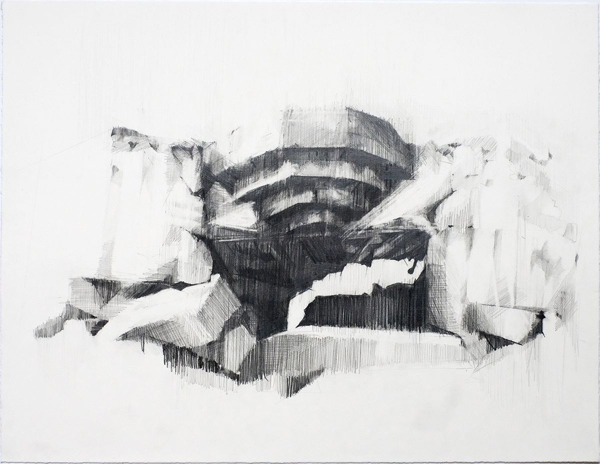 Ian Chamberlain, North Atlantic Wall – Vantage Point, 2020. Pencild and Graphite, 31.5 x 40.5cm. Courtesy of Rabley Gallery.