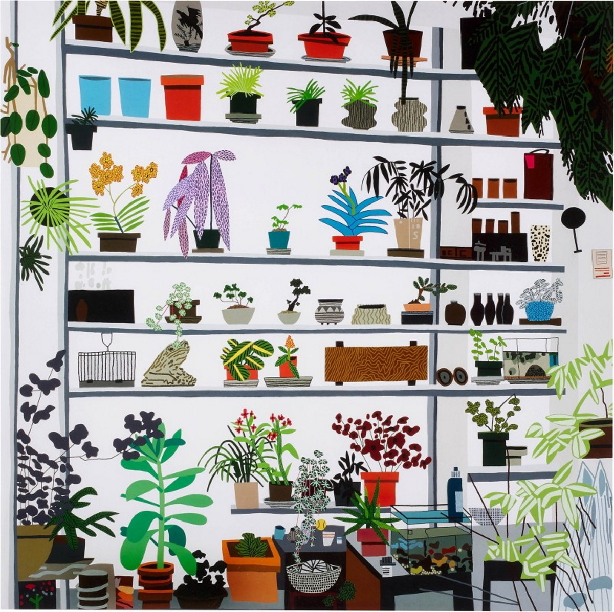 Jonas Wood, Large Shelf Still Life, 2017. Courtesy of Browse & Darby.