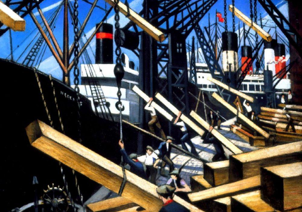 Loading Timber at Southampton Docks , 1917, Nevinson © Southampton City Art Gallery