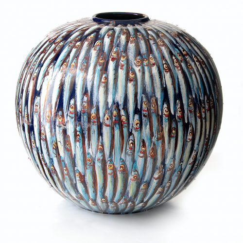 Bottega Vignoli, Mediterranea moon jar, 2017, full fire reduction majolica, 40cm diameter moon jar (photo credit Cesare Baccari)
