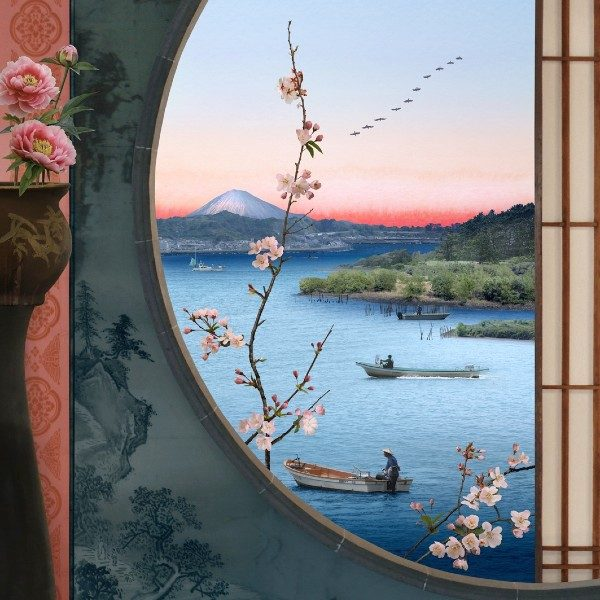 Emily Allchurch, Picture Window (after Hiroshige), 2020. 116.4 x 81.5cm. Courtesy of GBS Fine Art.