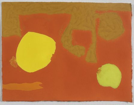 Mini October, Patrick Heron, 1976, 18cm x 23.5cm, gouache on paper, Crane Kalman Gallery