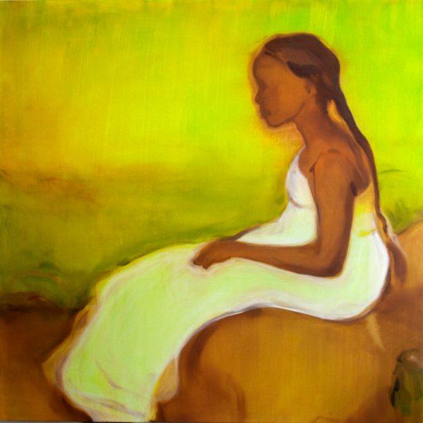 Sikelela Owen_Waiting (Aliyah) Oil on canvas 2021 120cm x 120cm