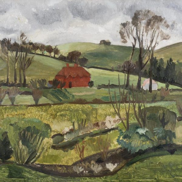 The Red Cottage, Broadchalke, Christopher Wood, c.1928. Oil on board, 39.5 x 54.5cm. Courtesy of Crane Kalman Gallery.